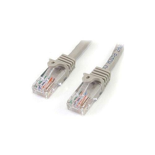 StarTech 10 ft Gray Snagless Cat5e UTP Patch Cable Cat 5e 10 ft 1 x RJ-45 Male Network 1 x RJ-45 Male Network Gray 45PATCH10GR