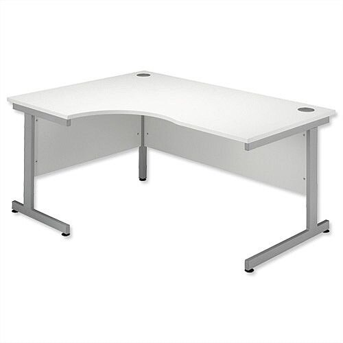 Office Desk Radial Left Hand Silver Legs W1600xD1200xH725mm White Ashford