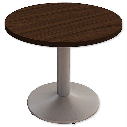 Small Round Meeting Table With Trumpet Base DiammxH Dark - Small round meeting table