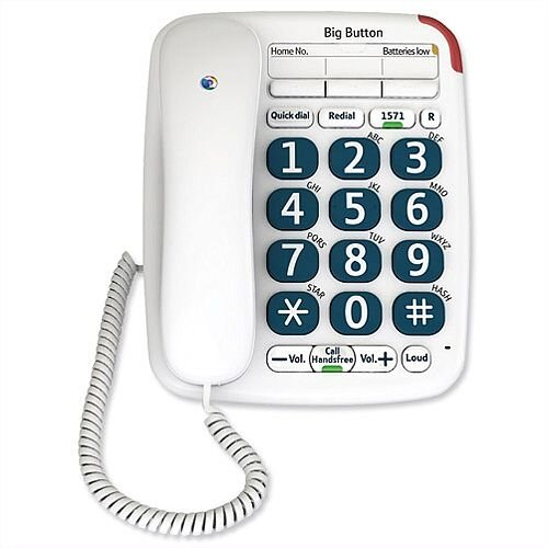 BT Big Button 200 Corded Telephone Handsfree Option White