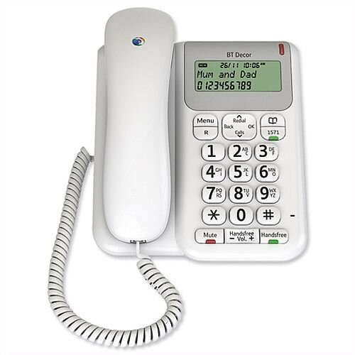 BT Decor 2200 Telephone 3-line LCD 50-Entry Phonebook Caller ID