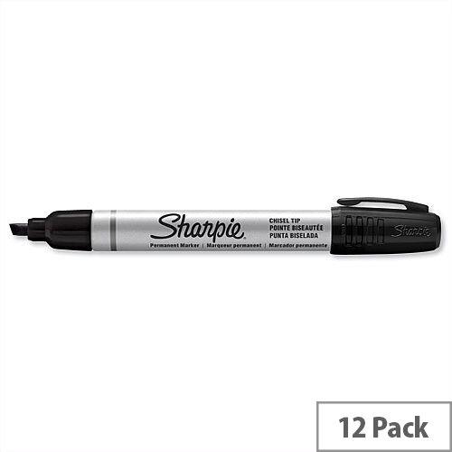 Sharpie Metal Permanent Marker Black Chisel Tip S0945770 Pack 12