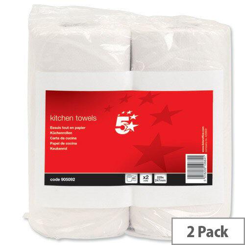5 Star Kitchen Paper Towels Rolls 229x247mm Sheets 60 per Roll Pack 2 905092