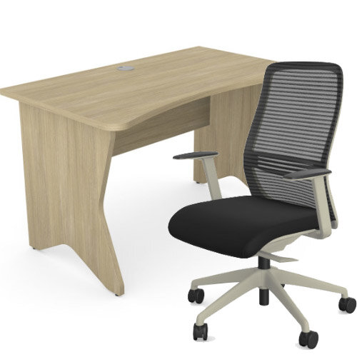 Home Office Medici Desk W1200xD700mm 25mm Desktop &Legs Urban Oak &NV Posture Office Chair with Contoured Mesh Back and Adjustable Lumbar Support Lime White Frame Black Seat