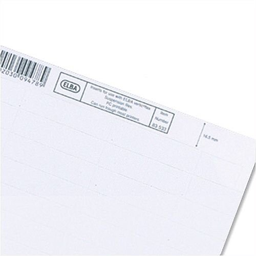 Card Inserts for Elba Verticfile Ultimate Suspension File Tabs White L140150 Pack 50