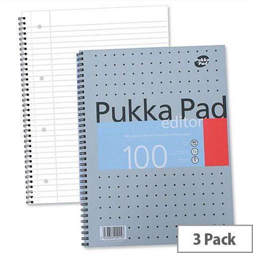 Pukka Pad A4 Punched Notebook 100 Pages Pack 3