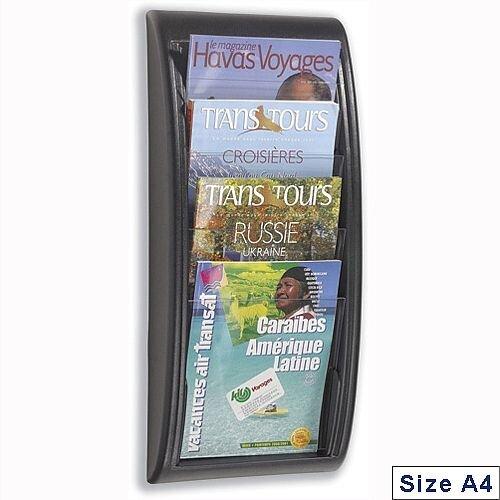 Quick Fit Literature Holder Wall Mount 4 x A4 Pockets Black