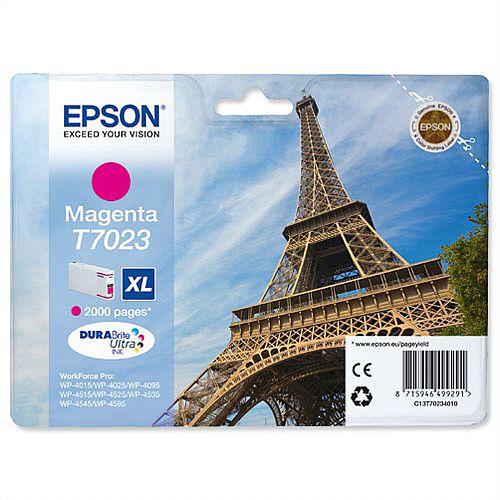 Epson T7023 High Capacity Magenta Inkjet Cartridge Eiffel Tower Series C13T70224010