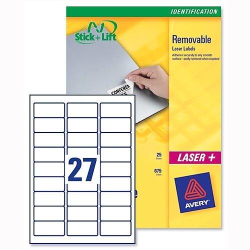 Avery L4737REV-25 Removable Laser Labels 27 per Sheet White 675 Labels