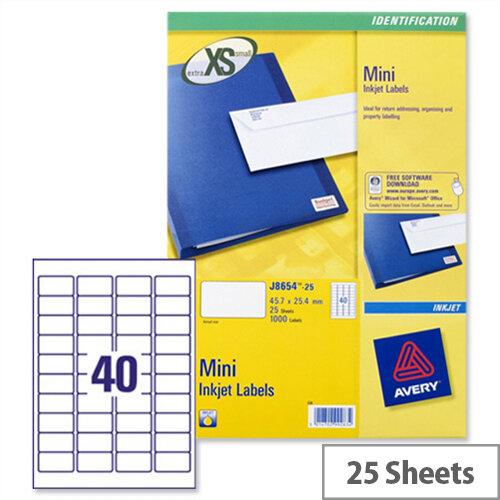 Avery J8654-25 Mini Labels Inkjet 40 per Sheet 45.7 x 25.4mm White 1000 Labels