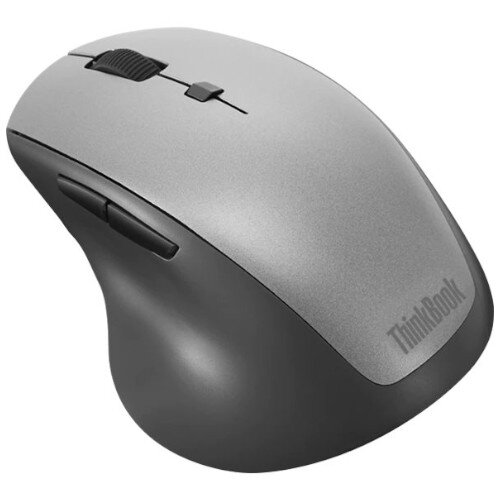 Lenovo ThinkBook Wireless Media - Ergonomic Mouse - Right-Handed - Optical - 6 Buttons - Wireless - 2.4 GHz - USB Wireless Receiver - Black/Grey