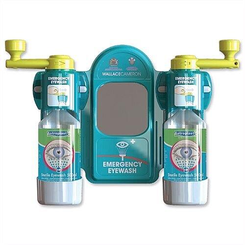 Wallace Cameron Eyewash Station Standard Mirror 2x Eyewash Bottle