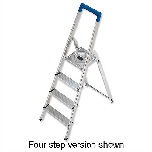 Folding Aluminium Ladder 5 Non Slip Ribbed Steps 4 6kg
