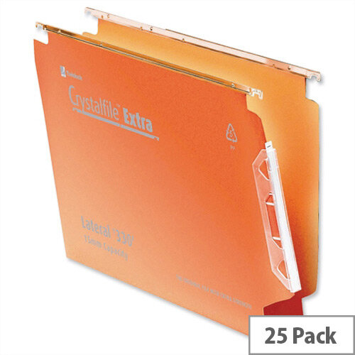 Rexel Crystalfile Extra Lateral 330mm Suspension File 30mm Wide Base Orange Pack 25
