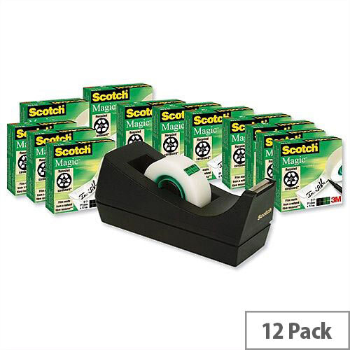 Scotch Magic Tape 12 Rolls 19mm x 33m 1 FREE Dispenser