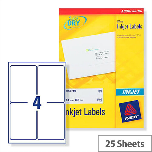 avery white quickdry inkjet labels 4 per sheet pack of 100 ref j8169