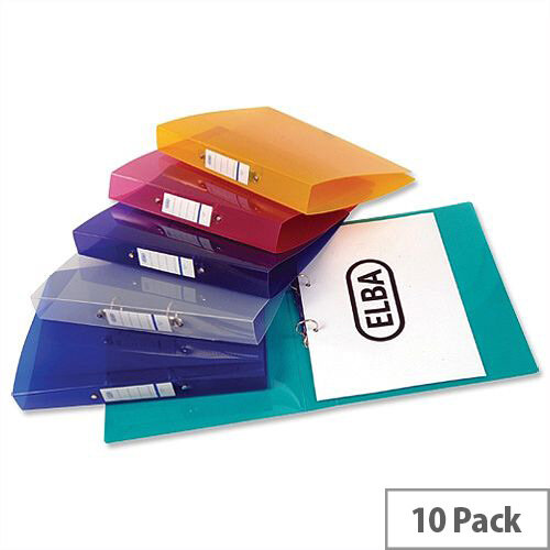 Elba Snap Ring Binder A4 Assorted 2 O-Ring 25mm Pack of 10