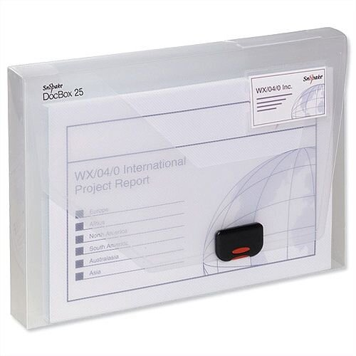 A4 Box File Clear Plastic Push Lock 60mm Spine Pukka