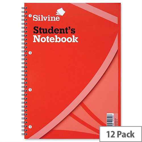 Silvine Student's Spiral Notebook Soft Cover 60 Sheets 297 x 210mm 141 Pack 12