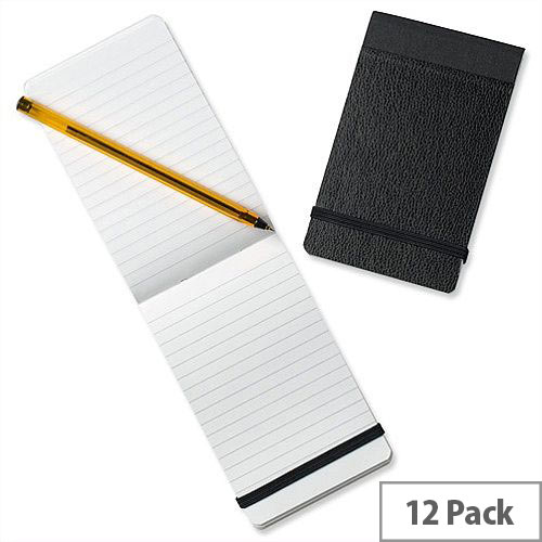 Silvine 82mm x 127mm Pocket Notebook Pack Of 12 With Elasticated Closure For Security. Stylish &Compact With Stiff Black Covers. Ideal For Note-Taking On The Go.