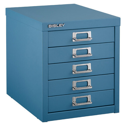 Bisley Multi-Drawer Cabinet 12 inches 5 Drawer Non-Locking Doulton Blue 12/5