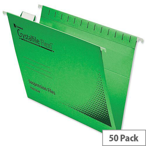 Rexel Crystalfile Flexifile Foolscap Suspension File Green Pack 50
