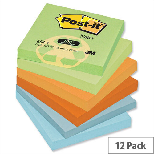 Post-it Notes Recycled Pad 76x76mm of 100 Sheets Pastel Pack 12