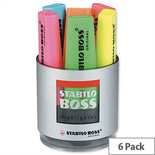 Stabilo Boss Highlighters in Pot Assorted Set of Six