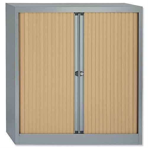 Bisley Silver Tambour Cupboard With Maple Shutters 2 Shelves Width 1000mm A4 Unit ET410/10.MP arn
