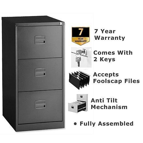 3 Drawer Steel Filing Cabinet Lockable Black Trexus By Bisley
