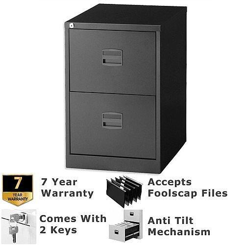 2 Drawer Steel Filing Cabinet Lockable Black Trexus By Bisley