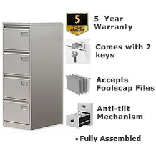 4-Drawer Filing Cabinet Goose Grey Bisley PSF