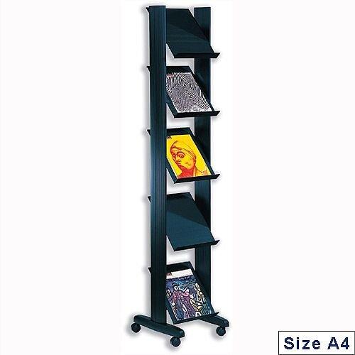 Literature Display Corner Mobile 5 Shelves Black