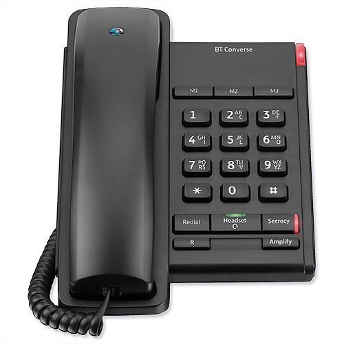 BT Converse 2100 Telephone 1 Redial, Mute Function &3 Number Memory. Hearing Aid Compatible. Slate Metallic Grey. Ideal For Use In Homes &Offices.