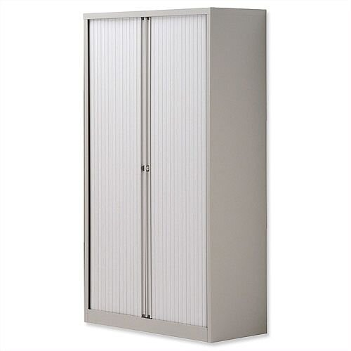 Tambour Cupboard Steel Side-opening W1000xD470xH1570-1585mm Grey