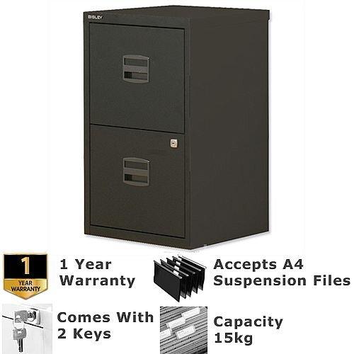 2 Drawer A4 Steel Filing Cabinet Lockable Black Bisley PFA Home Filers