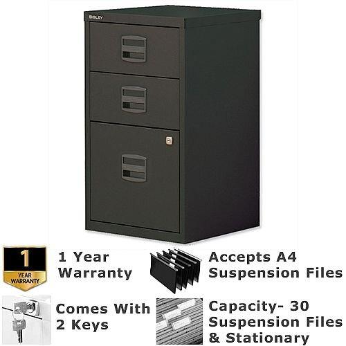 1 Filing &2 Stationery Drawer A4 Steel Filing Cabinet Lockable Black Bisley PFA Home Filers