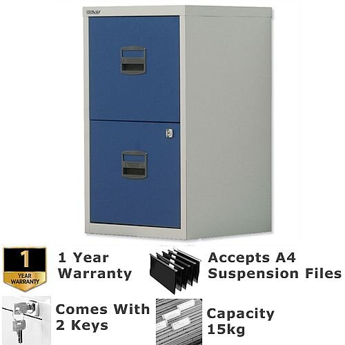 2 Drawer A4 Steel Filing Cabinet Lockable Grey &Oxford Blue Bisley PFA Home Filers