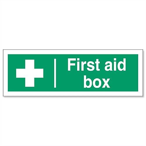 First-Aid Box Self Adhesive Vinyl Sign 300x100mm Stewart Superior