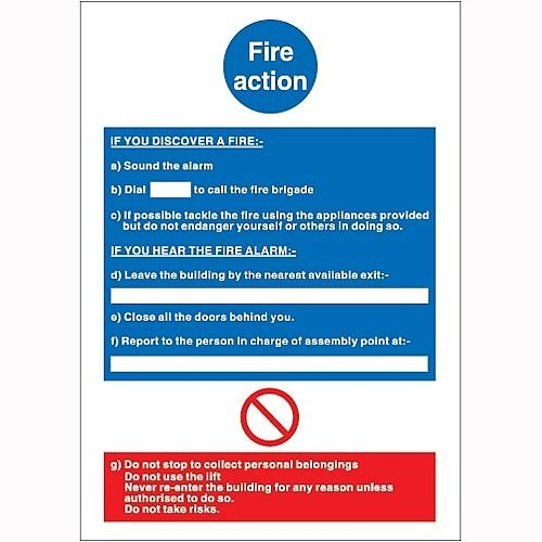 Stewart Superior Fire Action Self Adhesive PVC Sign W210xH297mm