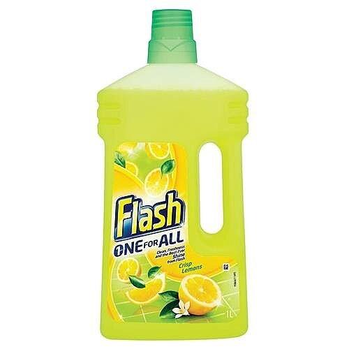 Flash All Purpose Cleaner for Multi/Floor Cleaner Surfaces 1 Litre Lemon Fragrance (Pack 1) Ref 1014073