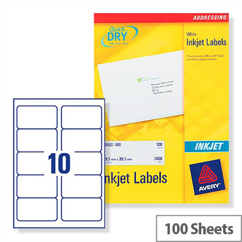 Avery Quickdry Inkjet Label 10 Per Sheet (Pack of 100)