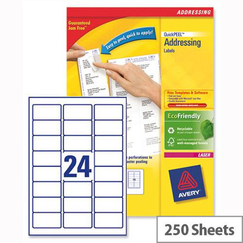 Avery L7159-250 Address Labels Laser 24 per Sheet 63.5x33.9mm White 6000 Labels