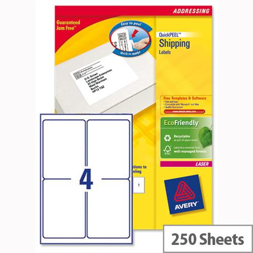 Avery L7169-250 Address Labels Laser 4 per Sheet 139x99.1mm White 1000 Labels