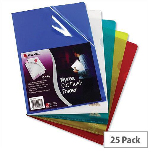 Rexel Nyrex Cut Flush Folder A4 Assorted Pack 25