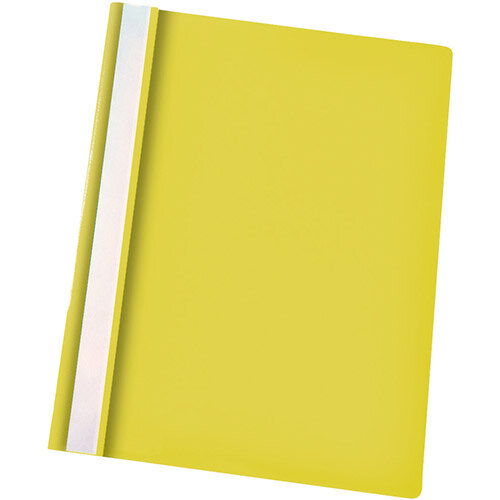 Esselte A4 Yellow Report Flat File Lightweight Plastic Clear Front Pack 25 x 25