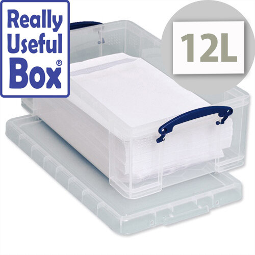 Plastic Storage Box 12 Litre Stackable Clear Really Useful