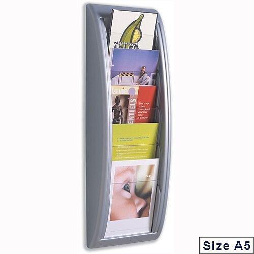 Quick Fit Literature Holder Wall-mount 5 x A5 Pockets Aluminium