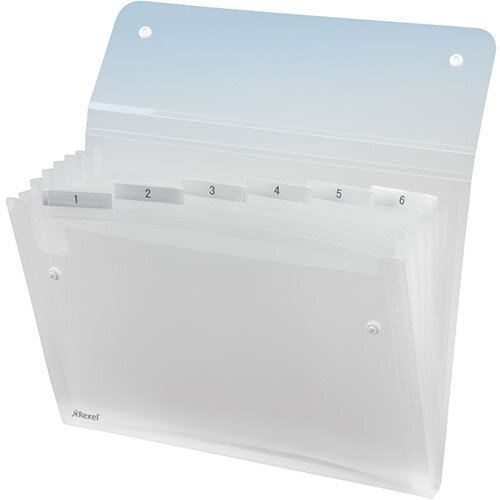 Expanding Files A4 Clear Durable Plastic With Tabs 6 Pockets Rexel Ice Pack of 10 - Holds Up To 150 A4 Sized Sheets, Contains Index Cards For Customization &Secure Popper Fasteners To Hold Everything Securely In Place. Ideal For Schools, Colleges, Office
