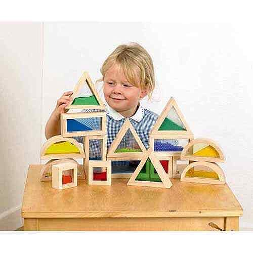 Sensory Blocks - 16 Wooden Blocks, 4 Different Shapes, Educational Quality, Beech, Well-Sanded, Natural Finish &Ideal For Toddlers